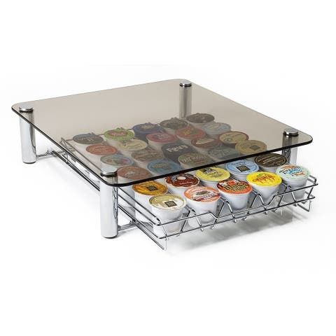 Deluxe Glass K-cup Storage Drawer Holder for Keurig K-cup Coffee Pods Holds 35 K-cups