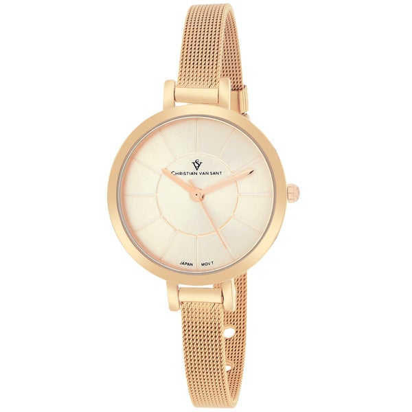 Christian Van Sant Women's Skinny Round Rose Gold-tone Stainless Steel Bracelet Watch