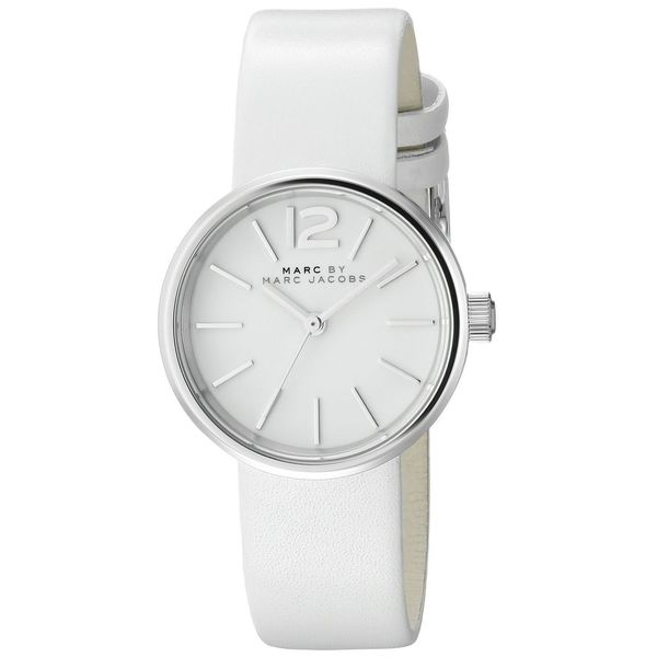 Marc Jacobs Women's MBM1367 Peggy Round White Leather Strap Watch