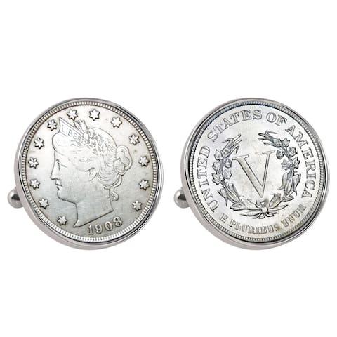 American Coin Treasures Liberty Nickel Silvertone Bezel Cuff Links - Silver