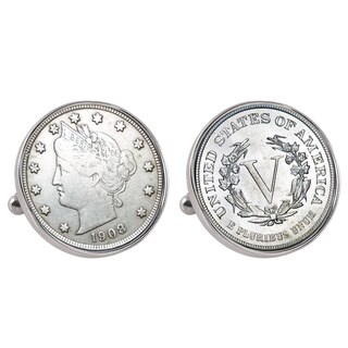 American Coin Treasures Liberty Nickel Silvertone Bezel Cuff Links