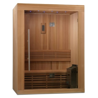 Sundsvall 2-3 Person Traditional Steam Sauna, Natural Canadian Red Cedar Wood
