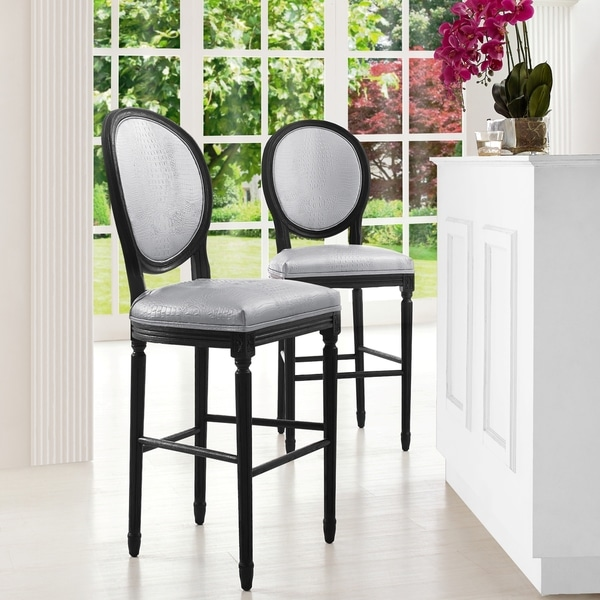 Shop Philip Silver Croc Counter Stool Free Shipping