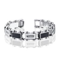Men's .15ct. Diamond and Stainless Steel Fashion Bracelet