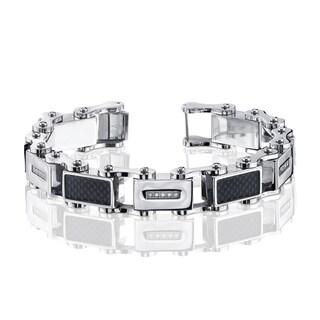 Men's .15ct. Diamond and Stainless Steel Fashion Bracelet