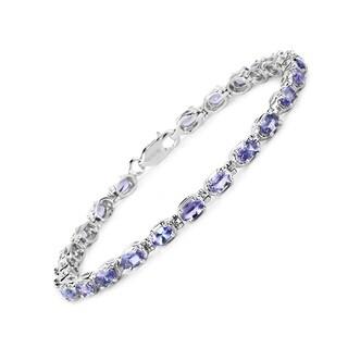 Olivia Leone Sterling Silver 6ct Tanzanite Bracelet