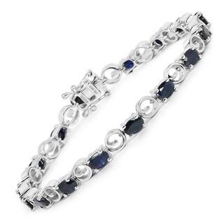 Olivia Leone Sterling Silver 8 4/5ct Blue Sapphire Bracelet