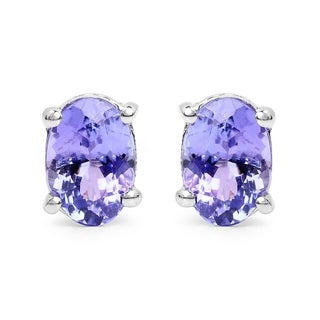 Olivia Leone Sterling Silver 1 1/2ct Tanzanite Earrings