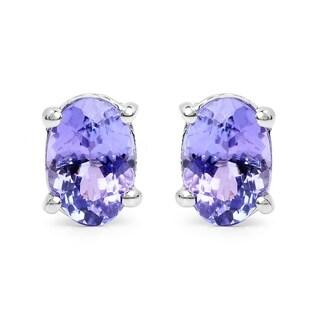 Olivia Leone Sterling Silver 1 1/2ct Tanzanite Earrings