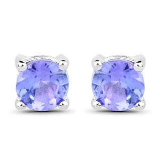Olivia Leone Sterling Silver 1/2ct Tanzanite Round Stud Earrings
