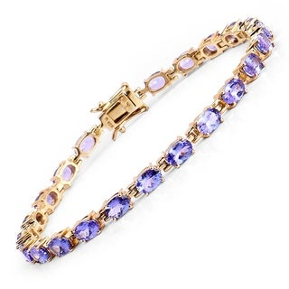 Olivia Leone 14k Goldplated Sterling Silver 9 3/4ct Tanzanite Bracelet - Blue