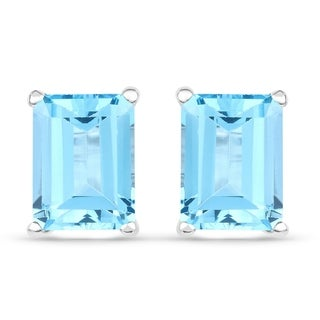 Malaika Sterling Silver 3 3/4ct Swiss Blue Topaz Earrings