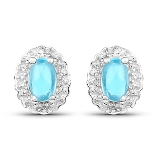 Malaika Sterling Silver 1 1/10ct Swiss Blue Topaz and White Topaz Earrings