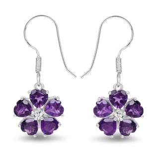 Olivia Leone Sterling Silver 4 5/8ct Amethyst and White Topaz Earrings