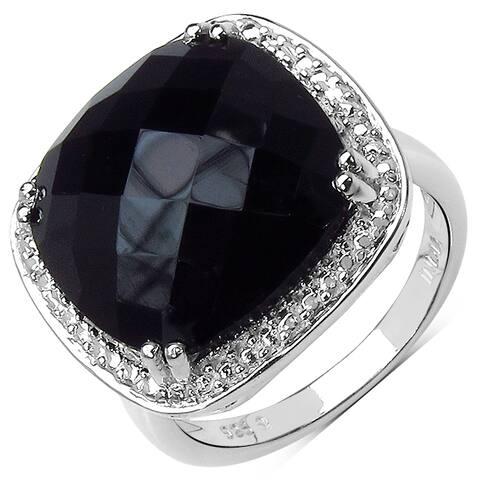 Malaika Sterling Silver 9 4/5ct Black Onyx Ring