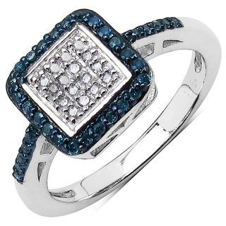 Olivia Leone Sterling Silver 1/3ct Blue and White Diamond Ring (I-J, I2-I3)