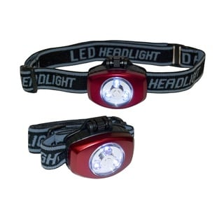 Greatlite 4-cell 3-LED Headlamps with Push Button (Pack of 2)