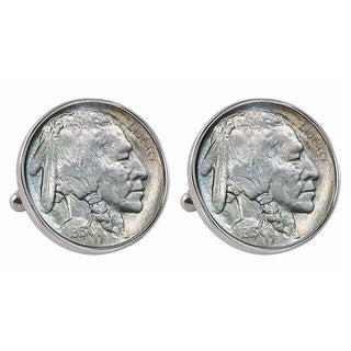American Coin Treasures 1913 First-Year-of-Issue Buffalo Nickel Silvertone Bezel Cufflinks