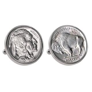 American Coin Treasures Buffalo Nickel Silvertone Bezel Cufflinks