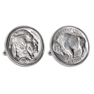 American Coin Treasures Buffalo Nickel Silvertone Bezel Cufflinks - Silver