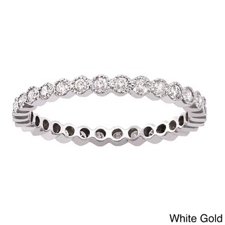 10k White Gold 1/2ct TDW Diamond Vintage Inspired Eternity Wedding Band (More options available)