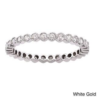Beverly Hills Charm 10k White Gold 1/2ct TDW Diamond Milgrain Eternity Wedding Band (H-I, I2-I3)