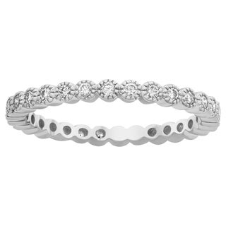 10k White Gold 1/2ct TDW Diamond Milgrain Eternity Wedding Band
