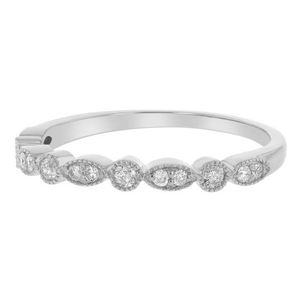 10k Gold 1/5ct TDW Diamond Anniversary Stackable Milgrain Band - White H-I