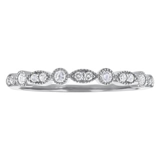 10k Gold 1/5ct TDW Diamond Stackable Milgrain Band