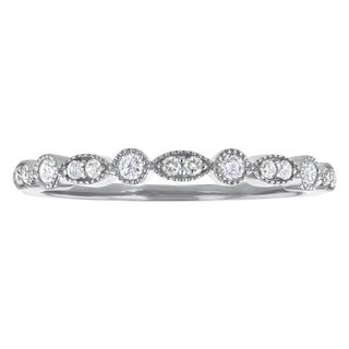 10k Gold 1/5ct TDW Diamond Anniversary Stackable Milgrain Band - White H-I