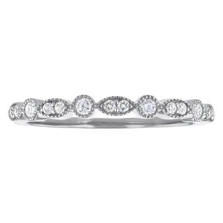10k Gold 1/5ct TDW Diamond Anniversary Stackable Milgrain Band - White H-I (More options available)