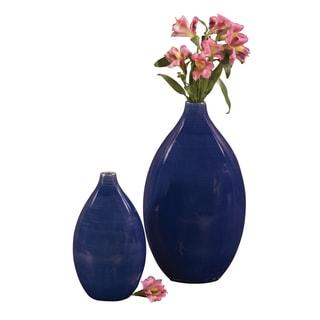 Cobalt Blue Glaze Ceramic Vases (Set of 2)