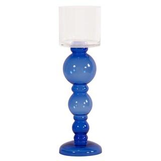 Cobalt Blue Hand-blown Candleholder with Clear Hurricane Top - Tall