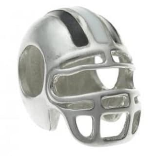 Queenberry Sterling Silver Football Helmet Enamel European Bead Charm