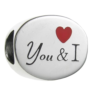 Queenberry Sterling Silver 'You and I' Red Heart European Bead Charm