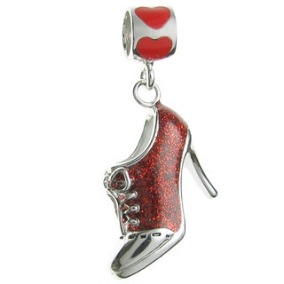 Queenberry Rhodium-plated Sterling Silver Laced-up Red High Heel Dangle European Bead Charm