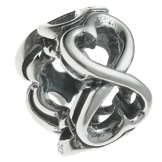 Queenberry Sterling Silver Endless Heart European Bead Charm