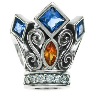 Queenberry Sterling Silver Blue/ Orange Cubic Zirconia King Crown European Bead Charm