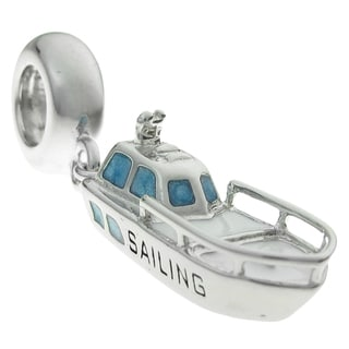 Queenberry Rhodium-plated Sterling Silver Blue White Yacht Dangle European Bead Charm