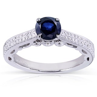 Annello by Kobelli 14k White Gold Round-cut Sapphire and 1/3ct TDW Diamond Engagement Ring