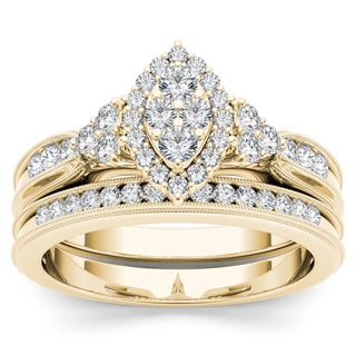 De Couer 10k Yellow Gold 1/2ct TDW Diamond Marquise-Framed Halo Engagement Ring Set (H-I, I2)