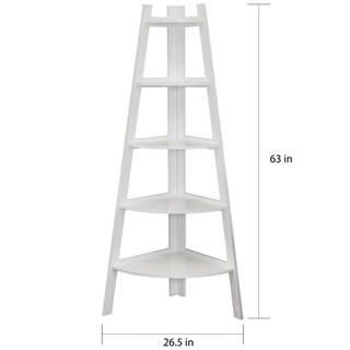 Danya B. White 5-tier Corner Ladder Display Bookshelf
