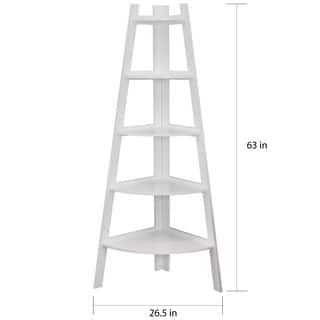 danya b white 5 tier corner ladder display bookshelf - Corner Bookshelves