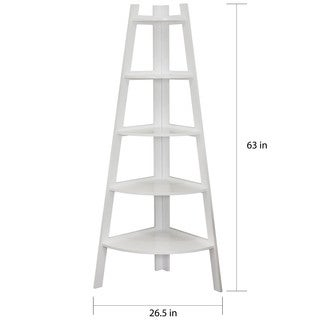 Danya B. White 5 Tier Corner Ladder Display Bookshelf
