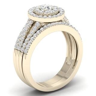 De Couer 10k Yellow Gold 1ct TDW Diamond Halo Engagement Ring Set