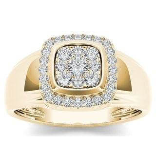 De Couer 10k Yellow Gold Men's 1/2ct TDW Diamond Men's Cluster Ring (H-I, I2)