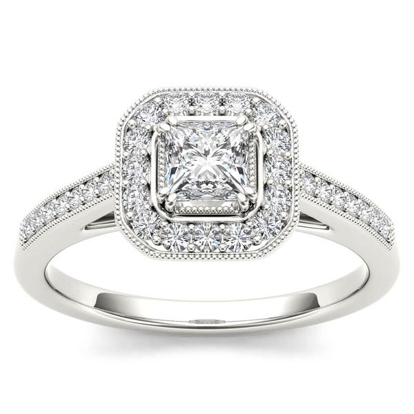 De Couer 14k White Gold 1/2ct TDW Diamond Vintage Halo Engagement Ring