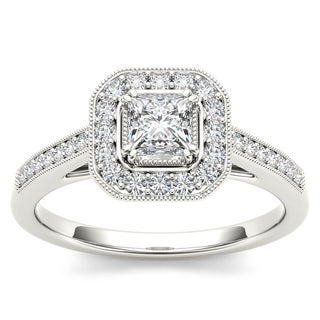 De Couer 14k White Gold 1/2ct TDW Diamond Vintage Halo Engagement Ring