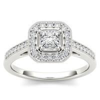 De Couer 14k White Gold 1/2ct TDW Diamond Vintage Halo Engagement Ring - White H-I