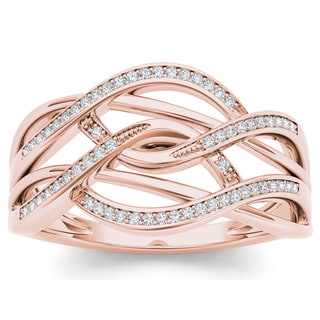 De Couer 10k Rose Gold 1/6ct TDW Diamond Swirling Fashion Ring (H-I, I2)